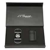 S.T. Dupont MaxiJet Lighter and Lacquer Cigar Cutter Set - Matte Black