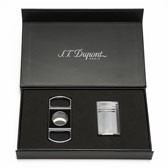 S.T. Dupont MaxiJet Lighter and Lacquer Cigar Cutter Set - Chrome Grid