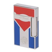 S.T. Dupont Cigar Club Ligne 2 Cuba Lighter, Blue & Red Lacquer